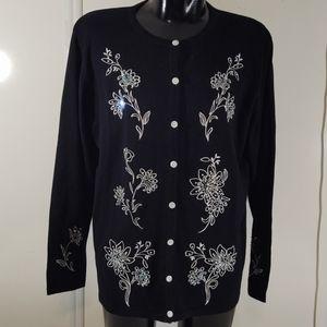 DressBarn Black Floral Embroidered Cardigan
